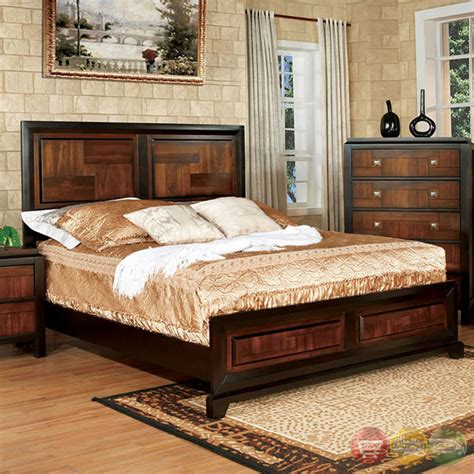 chrome bedroom furniture patra acacia walnut panel bedroom set w square chrome