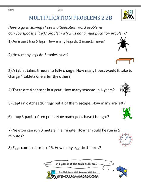 Math Problem Solving Worksheets 2nd Grade by Multiplication Word Problem Area 2nd Grade