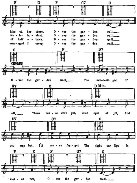 Funny Sings For Ukulele Songbook P0029 The Garden Wall Lyrics
