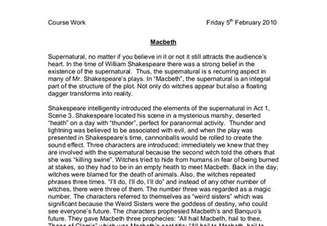 Macbeth Conclusion Essay by The Supernatural In Quot Macbeth Quot Gcse Marked By Teachers