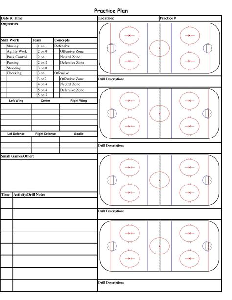 hockey bench card template youth football practice plans templates images template