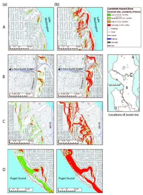seattle hazard map seismically induced landslide hazard map for a magnitude 7