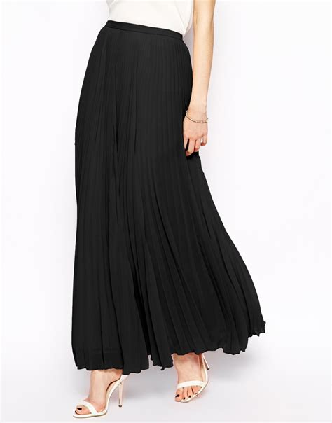 asos pleated maxi skirt in black lyst