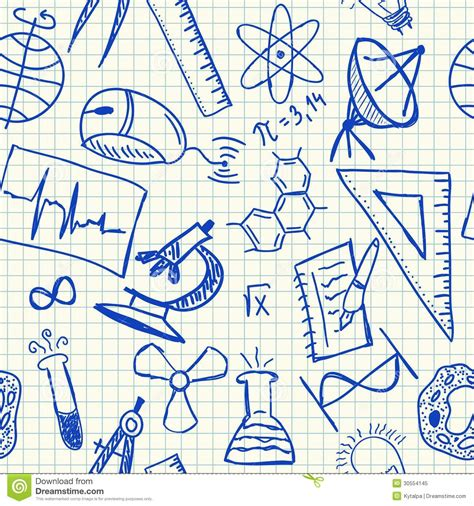 pattern paper school science doodles seamless pattern royalty free stock photo