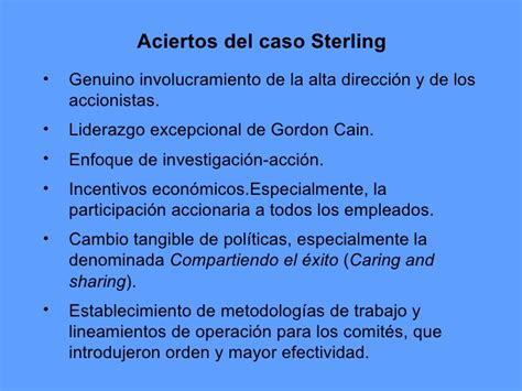 sterling y el caso mejora de la calidad y productividad caso sterling
