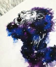 galaxy watercolor tattoo lion design tattoo designs of