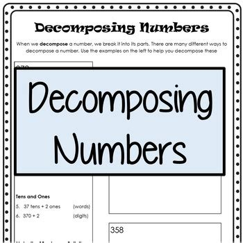 Composing And Decomposing Numbers Worksheet Grade by Decomposing Numbers By Kendra Seitz Teachers Pay Teachers