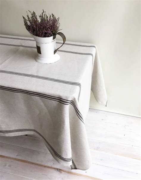 farmhouse style table cloth striped rustic linen tablecloth country ticking