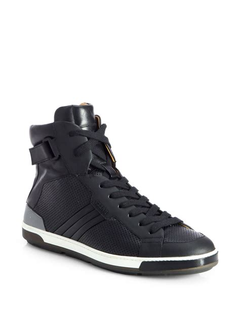 D Island Shoes Slip On Office Mens High Black Original bally leather high top sneakers in black for lyst