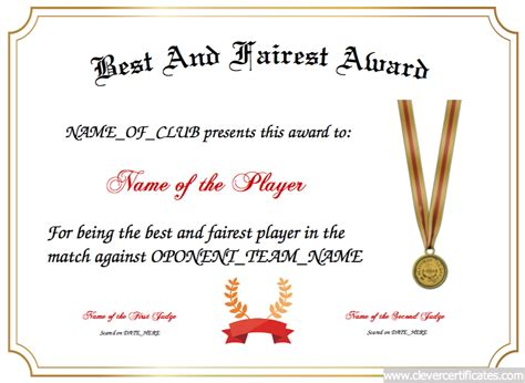 sports certificate templates free best and fairest designer ideas
