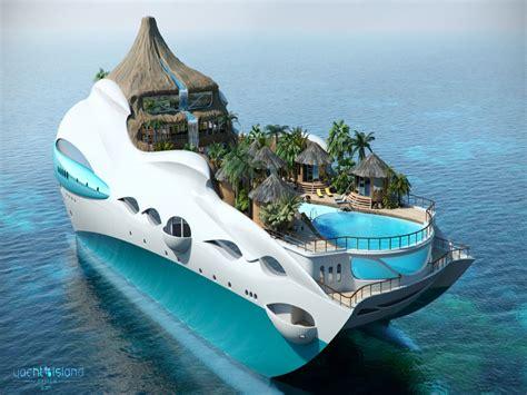 floating boat island floating island yacht tropical island paradise yacht