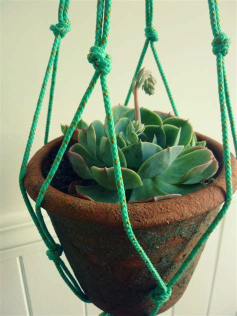 Macrame Flower Pot Holder - neon string macrame plant pot holder felt