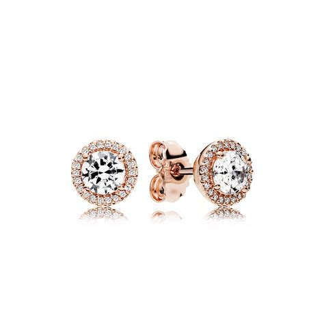 Classic Elegance Stud Earrings, PANDORA Rose? & Clear CZ
