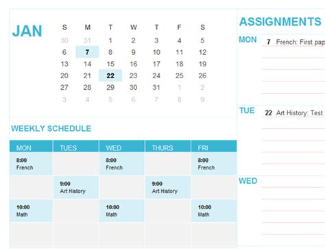 student calendar sun office templates
