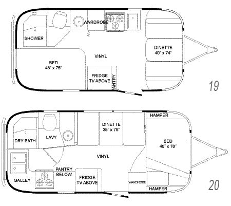 vintage airstream floor plans floor plans of different lengths airstream flying cloud