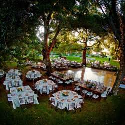 beautiful outside lights from trees outdoor reception and different tables