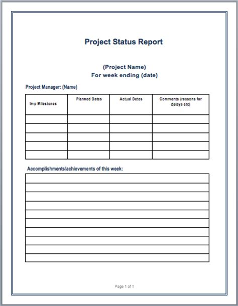 report template word project status report template microsoft word templates