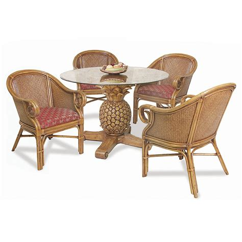 Hospitality Rattan Sunset Reef Indoor 5 Piece Rattan And Indoor Rattan Dining Chairs