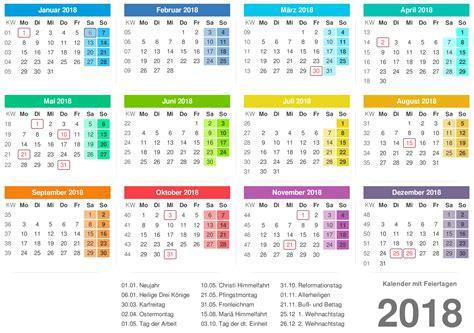Kalender 2018 Mit Schulferien 2018 Kalender Pdf Word Excel Kalender 2018 Schulferien
