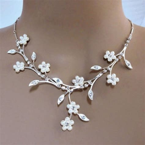 Wedding Necklaces by Faux Pearl White Flowers Adorn Elaborate Rhinestone