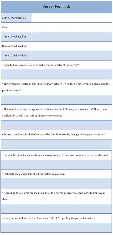 survey feedback form survey feedback form template