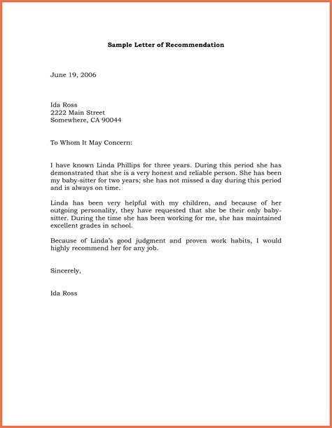Society Model Letter To recommendation letter sle bio exle