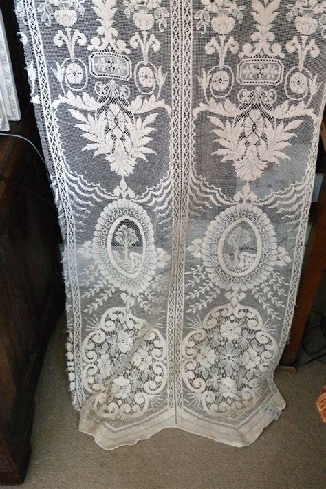 art deco lace curtains antique art deco narrow ecru cotton lace curtain panel to