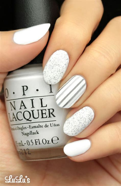 x pattern nails mani monday silver and white glitter nail tutorial