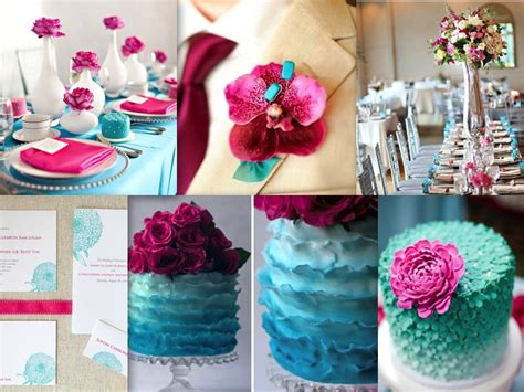 theme pink turquoise pretty weddings