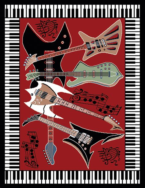 guitar area rug piano border area rug guitar notes carpet actual 5 3 quot x 7 5 quot ebay