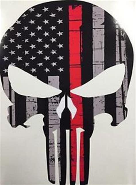 Wallpaper Sticker Kode 034 thin line punisher skull american flag decal sticker