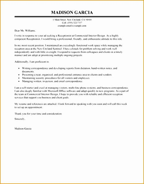 9 receptionist cover letter exle free sles
