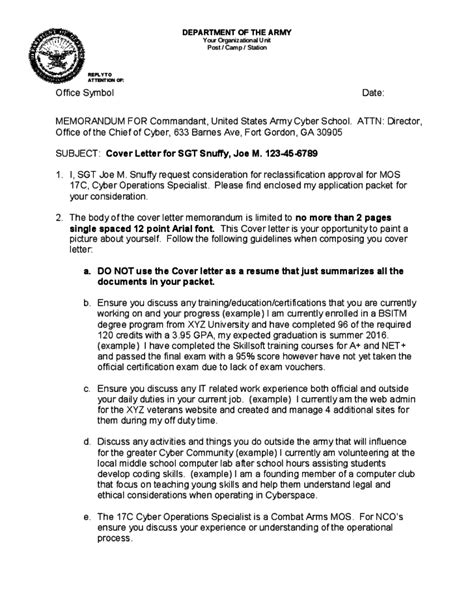 Memo Format Army Official Memorandum Format For Army Free