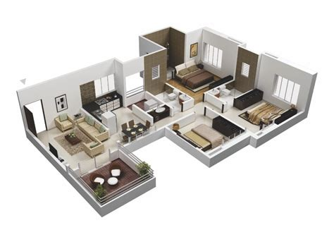 3 bedroom design plan 25 more 3 bedroom 3d floor plans
