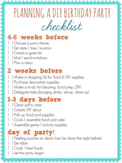 party themes list for adults first birthday party planner checklist home party ideas