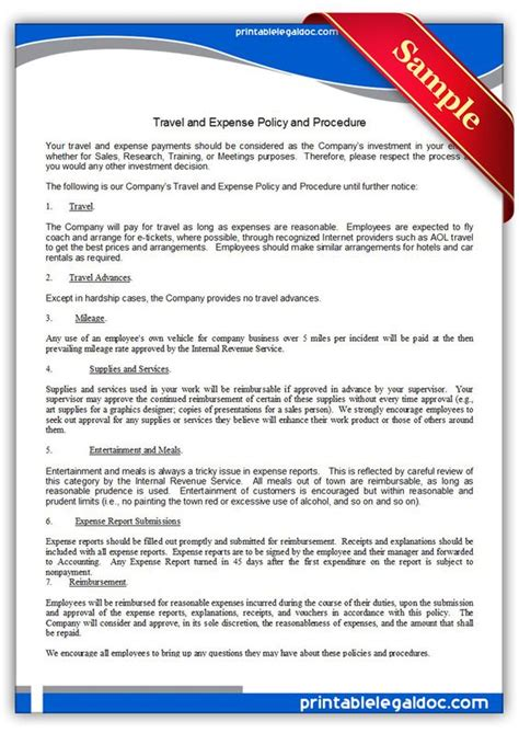 travel policy template the world s catalog of ideas
