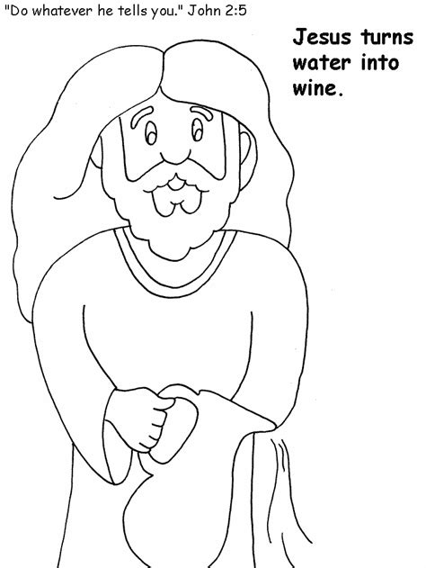 free coloring pages of miracle of water into wine