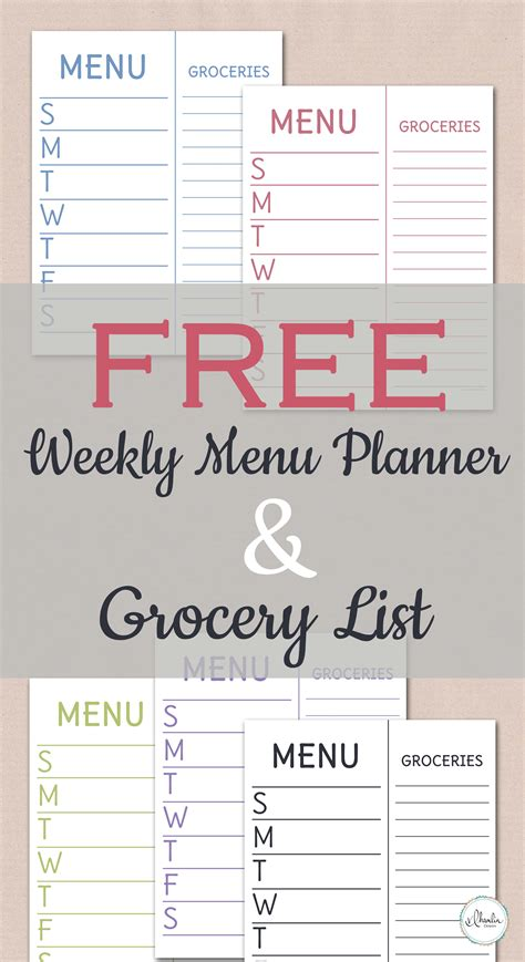 printable grocery list menu free weekly menu planner grocery list printable food