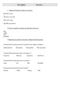 Small Tall Table Description Ce2 Cm1 Cm2 Exercices Anglais