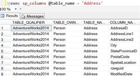 sql server list tables get table column names list in sql server by code
