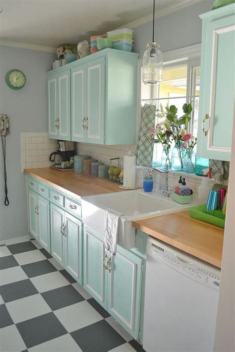 vintage kitchen tile backsplash 50s kitchen makeover soft seafoam chalk paint cabinets
