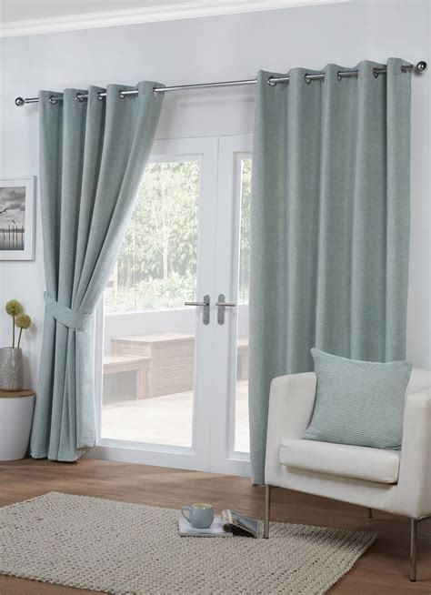 blue and beige striped curtains striped chenille weave duck egg blue beige lined ring top