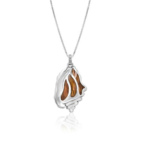 sterling silver conch pendant with koa wood inlay