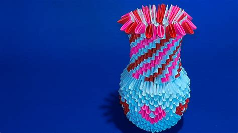 3d Origami Flower Vase - how to make a 3d origami flower vase versi on the spot