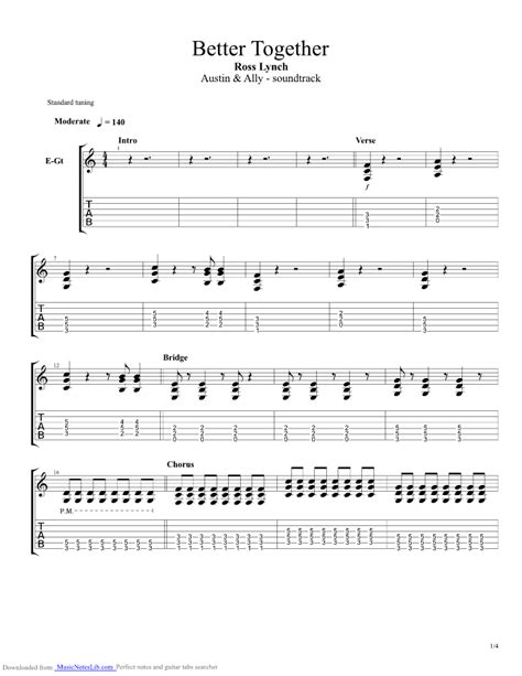 better together chords better together guitar pro tab by ross lynch