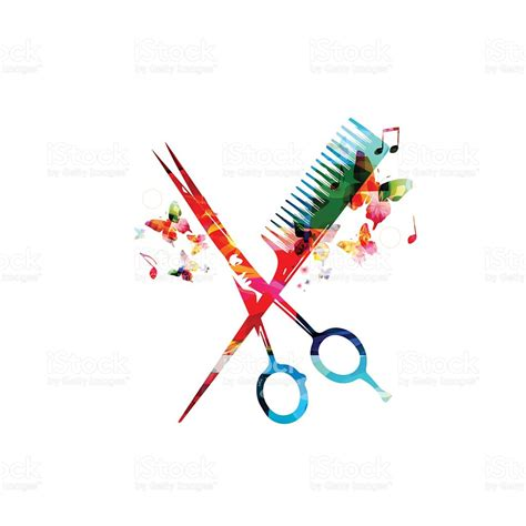 design free stock photo illustration of a colorful colorful comb and scissors design stock vector art more