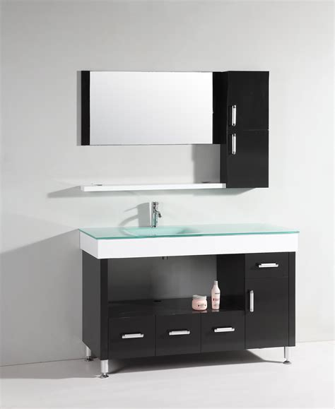 bathroom counter shelf black wooden vanity with storage and shelf plus white