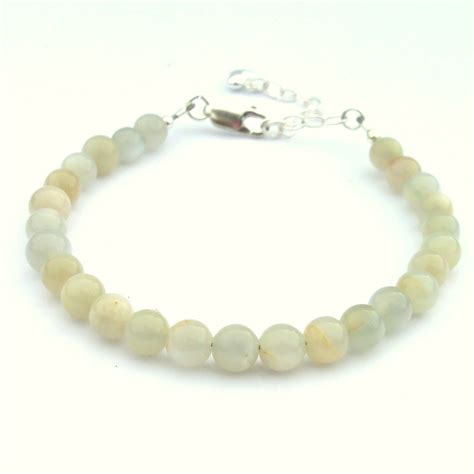Handmade Grey Moonstone Stacking Bracelet   Semiprecious Stone   Sterling Silver   b1010