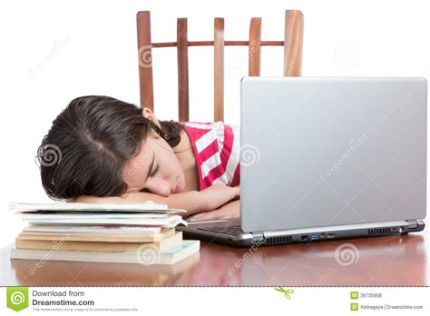Student Sleeping On Desk by Tired Student Sleeping On Desk Royalty Free Stock