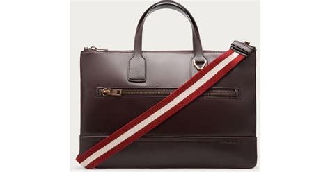 Tas Wanita Gucci Broche bally tas s leather business bag in chocolate in brown for lyst
